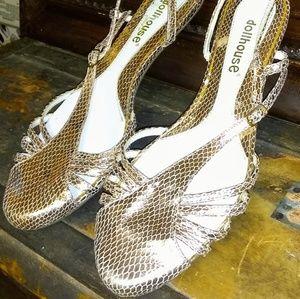 DollHouse  rose gold Metallic Slides